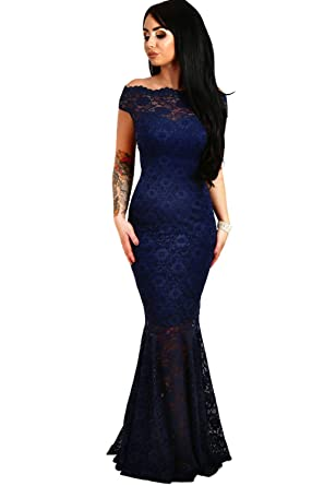 13b2058869b shelovesclothing Women s Off The Shoulder Bardot Lace Fishtail Maxi Dress  Evenings Weddings (Small 6-