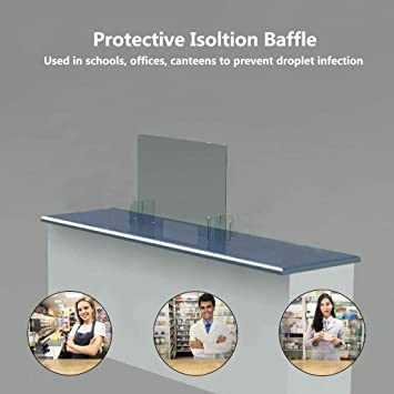 Jinjin Protection Barrier Counter Desk Clear Plastic Shield for Counters Reception Areas and Waiting Rooms Antispray Plastic Divider Sneeze Guard