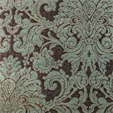 upholstery fabrics by the bolt - Swavelle Sage Green/Brown Chenille Damask Home Decorating Fabric, Fabric By the Yard
