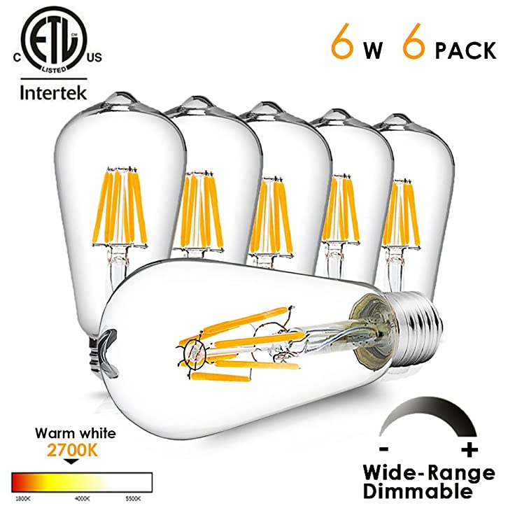LED Light Bulbs Dimmable LED Edison Bulb Vintage LED Filament Light Bulb 6W (60W Equivalent), ST64 Warm White 2700K, 540LM, E26 Base, Wide Dimming Range ...