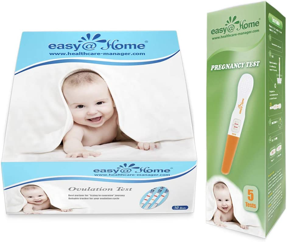 Easy@Home Ovulation Test and Pregnancy Test Kit, 50LH Strips+5 HCG Sticks