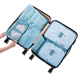Cocogo 7 Set de Organizador de Equipaje, Impermeable Organizador de Maleta Bolsa para Ropa Sucia de Viaje, Material Nylon
