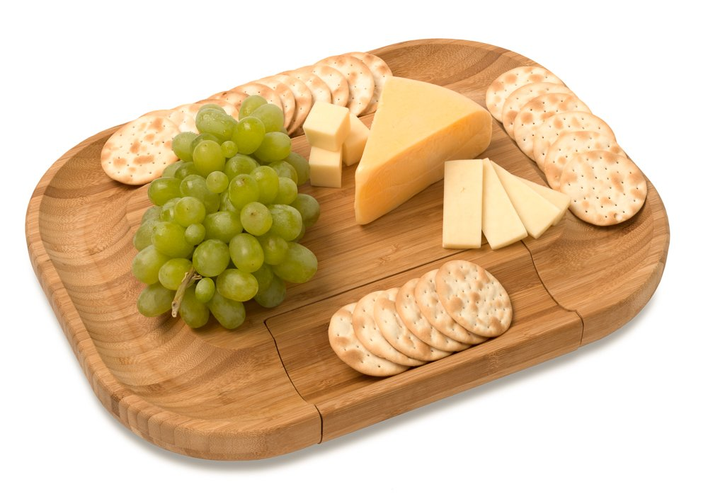 Mr. C's Cucina Bamboo Cheese and Charcuterie Meat Cutting Board With Cutlery Accessories and Utensils Including Knife Set and Spreading Tools in a hidden slide-out tray. The PERFECT gift idea! by Mr. C's Cucina (Image #3)