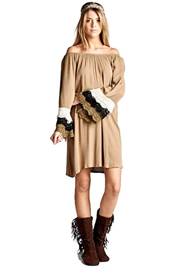 dfea521eb48 Velzera Off The Shoulder Crochet Tunic Dress Boho Chic Plus Size (1X ...