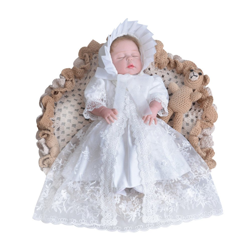 Mud Kingdom 3Pcs Baby Lace Christening Dress with Hat Infant Toddler Outfits SQ0279-PX