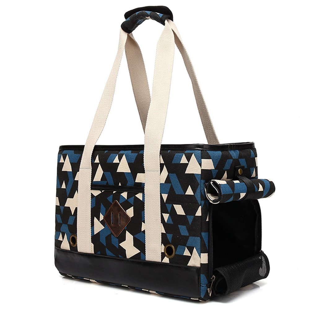 BETOP HOUSE Oxford Cloth Pet Dog Cat Carrier Travel Bag, Geometry Pattern