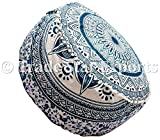 Trade Star Exports Indian Mandala Ottoman Pouf Cover, Decorative Footstool, Round Floor Pouf, Seating Pouf Ottoman Cover, Ethnic Pouf Cushions, Bohemian Decor Pouf (Pattern9)
