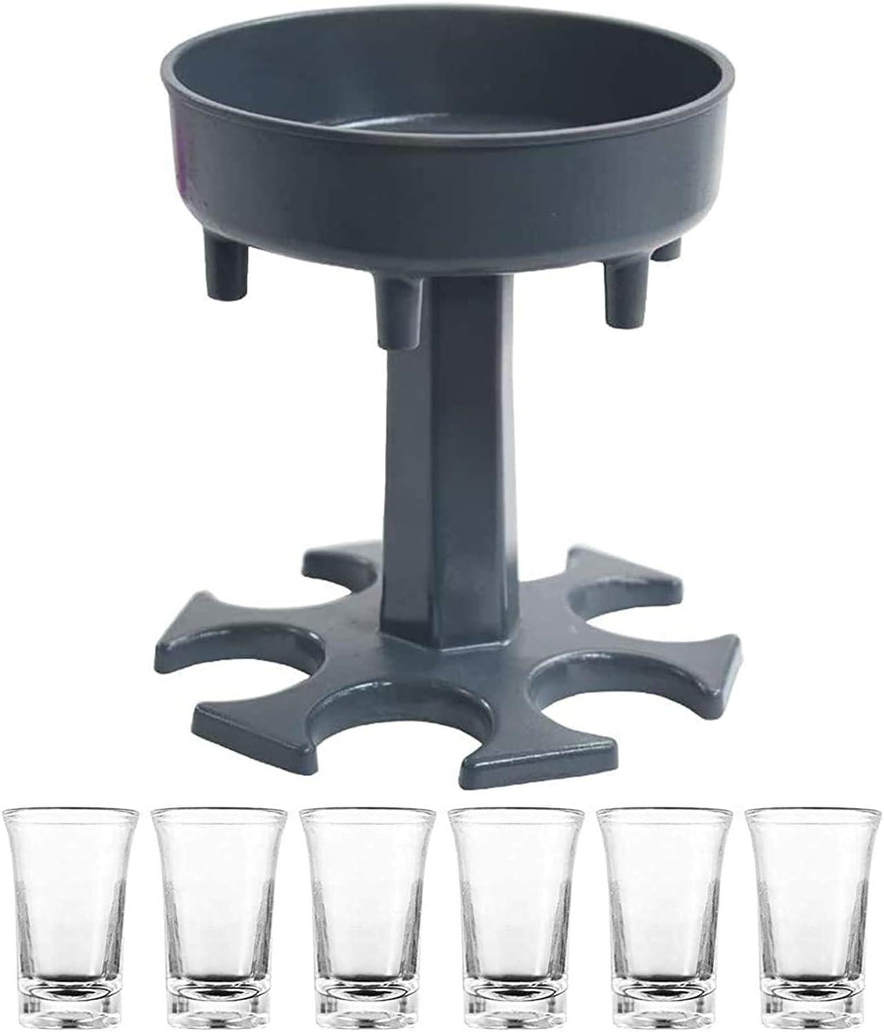 J2CC 6 Acrylic Cups Dispenser and Holder,Bar Dispenser,Wine Liquor Bottle Dispenser Filling Multiple Cocktail Beverage Revolving Drinking Liquids Started dispenser (gray)