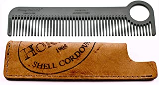 product image for Chicago Comb Model 1 Carbon Fiber Comb + Horween Shell Cordovan Color No. 8 sheath, Made in USA, ultimate pocket & travel comb, ultra smooth strong & light, anti-static, premium American leather