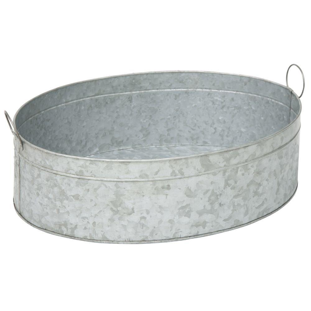 Galvanized Metal Oval Beverage Tub - 27''L x 19''W x 7 3/4''H
