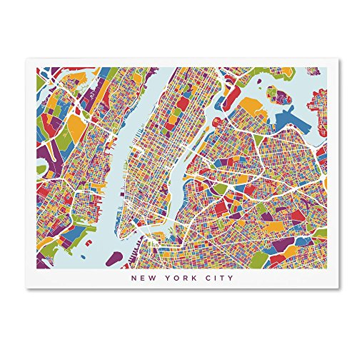 - New York City Street Map V by Michael Tompsett, 14x19-Inch Canvas Wall Art