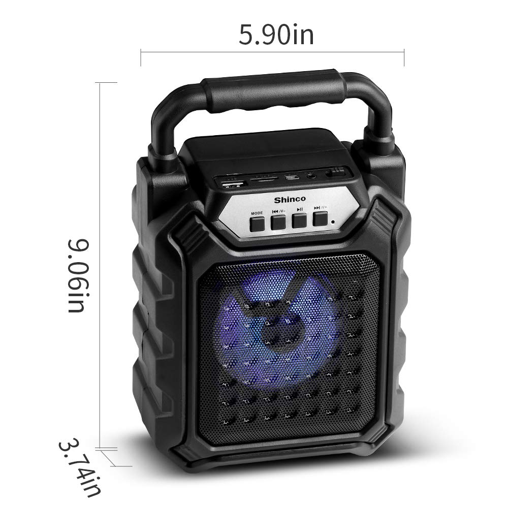 Shinco Bluetooth Portable Speaker with Pulsing Color Light, Rich Bass, FM Radio, TF Card, USB Input, AUX Line-in, 66 ft Wireless Range, Perfect for Home Audio Entertainment and Outdoor