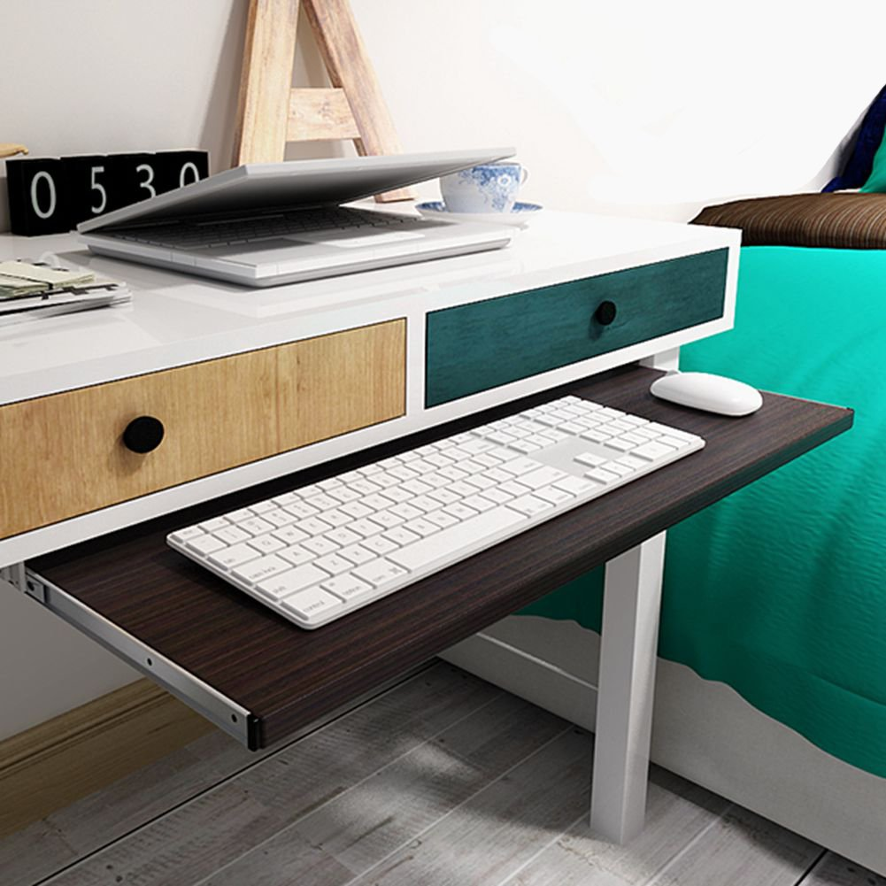 20x11 Home Furniture Office Keyboard Tray Drawers Slide Two Rail Slide Keyboard Tray Mute suitable for small keyboard Teak