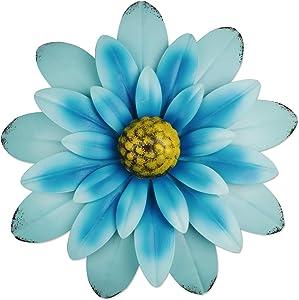 "YiYa 13"" Metal Flower Wall Art Decorations Indoor or Outdoor Wall Sculptures Hanging for Bathroom Livingroom Bedroom (Blue)"