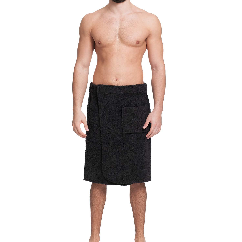 OAHOO Herren Saunakilt Badehandtuch Klettverschluss Tasche Frottee S M L XL