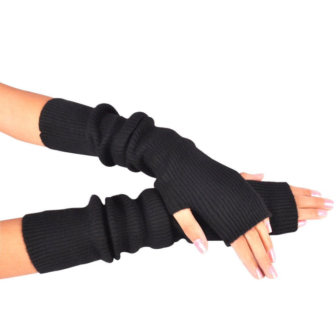 Novawo Women's Solid Wool Fingerless Arm Warmers Gloves with Thumb Hole, Black by Novawo (Image #2)