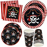 "Pirate Party Supplies Tableware Set 24 9"" Plates 24 7"" Plate 24 9 Oz Cups 50 Luncheon Napkins For Pirate Crossbone Skull Bandana Kids Disposable Dinnerware Girl Boy Birthday Party Decor Gift Boutique"