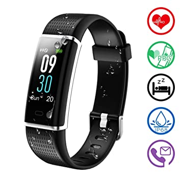 KALINCO Fitness Tracker, Color Screen Activity Tracker,Smart Watch Heart Rate Monitor, Sleep Monitor,Calories Counter, IP68 Waterproof, Steps ...