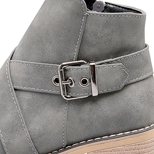 DKU01844 No AN Boots A Warm Bootie Not Strap Urethane Closure Adjustable amp;N Womens Gray Heel Boots Kitten Resistant Lining Water Toe Closed CRwCrYq