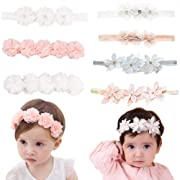 Baby Toddler Elastic Chiffon Flower Headbands Princess Girls Hand Sewing Beads Flower Headwear Nylon (QJ318)