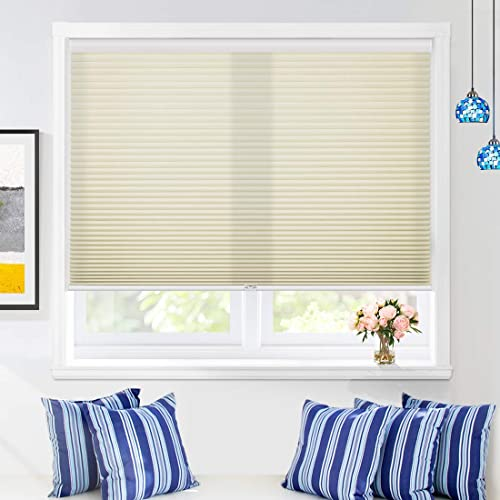 Keego Bathroom Window Shades Cordless Cellular Blinds Custom Made Light Filtering Window Blinds and Shades Honeycomb Blind