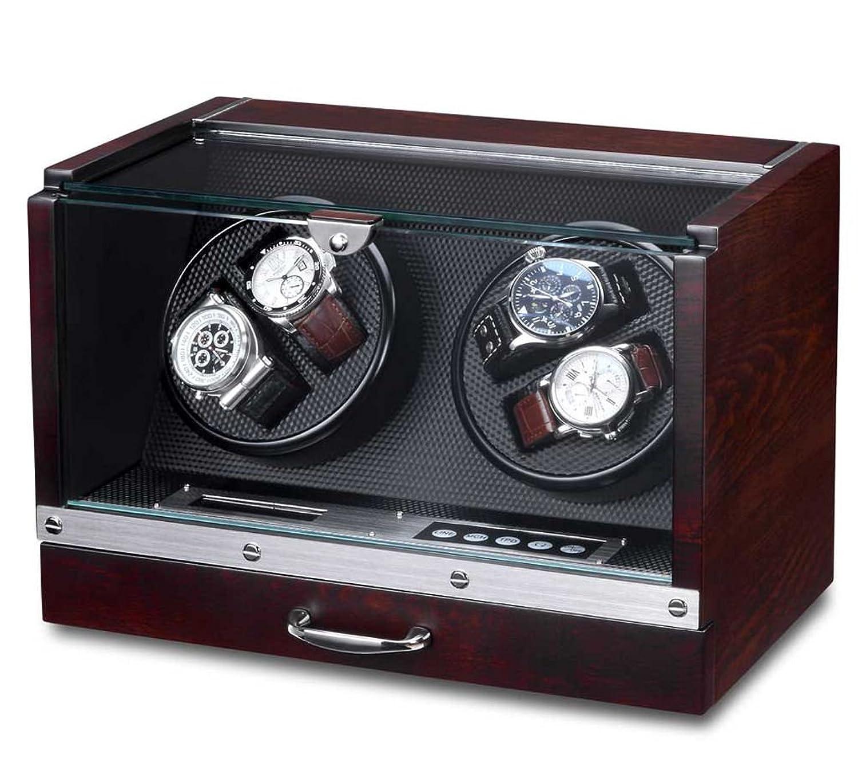WATCH WINDER Lade Uhren Mahagoni Uhrenbox 4 Automatikuhren
