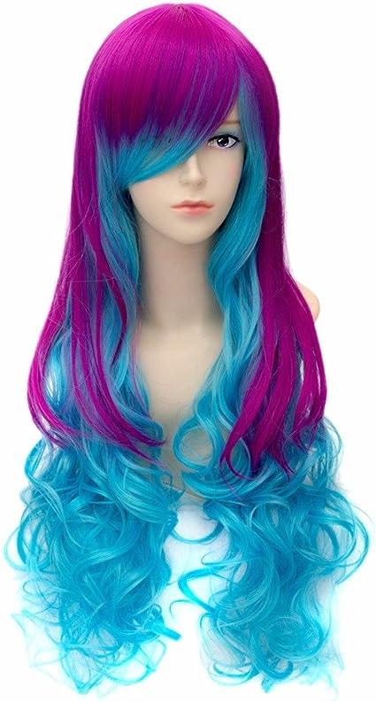 Azul Degradado De Color Rosa Onda Larga Chica De Moda Rizado ...