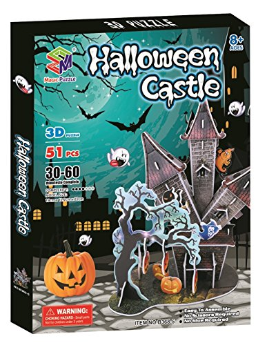 Halloween Castle 3D Paper Jigsaw Puzzle, 51 Pieces (Interesting Facts About Halloween For Kids)