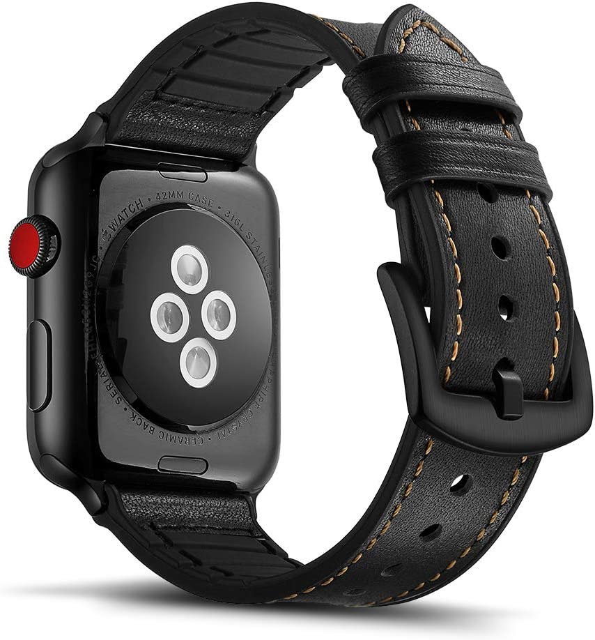 Tasikar Leather Silicone Band Compatible with Apple Watch Band 42mm 44mm Genuine Leather with Silicone Hybrid Design Comfortable Band for Apple Watch Series 6 Series 5/4 Series 3/2/1, SE (Black)