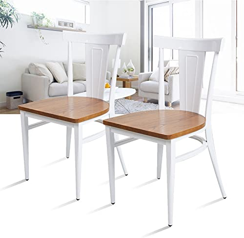 Dporticus Dining Chairs W Wood Seat and Metal Frame Kitchen Side Chairs Residential or Commercial Use – Set of 2 White
