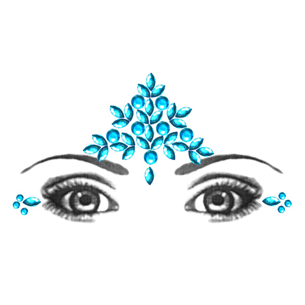 Eye Corners & Face Jewels Blue Bindi Rhinestone Forehead Decorations Jewels BridalBindis Blue-Forehead-Corners