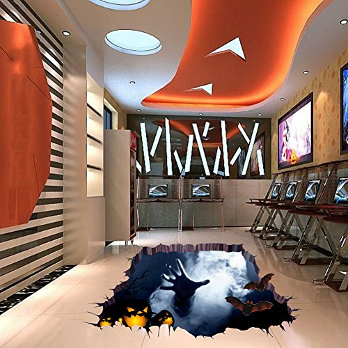 Woya Halloween Household Room Floor 3D Wall Sticker Mural Decor Decal Removable,Floor Decorating (Halloween Wall Mural Ideas)