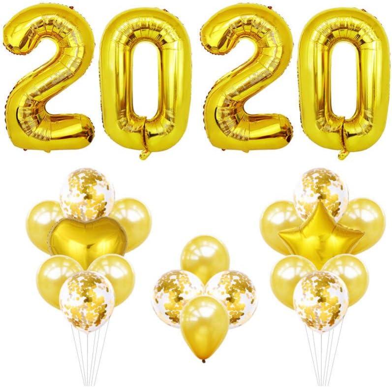 Toyvian 16 Pulgadas 2020 número Foil Globos 2020 Decoraciones de graduación Fiesta de Fin de año Fiesta Suministros (Dorado)