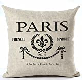 Paris French Market No.12 Style Royal Sign Lily Cotton Linen Throw Pillow Case Cushion Cover Home Office Living Room Sofa Car Decorative Square 18 X 18 Inches