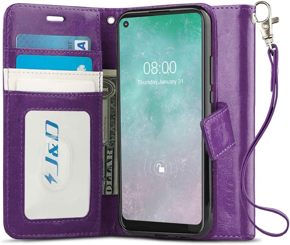 J&D Case Compatible for Motorola Moto G Fast Case, Wallet Stand Slim Fit Heavy Duty Protective Shock Resistant Flip Cover with Card Slots for Moto G Fast Wallet, Purple
