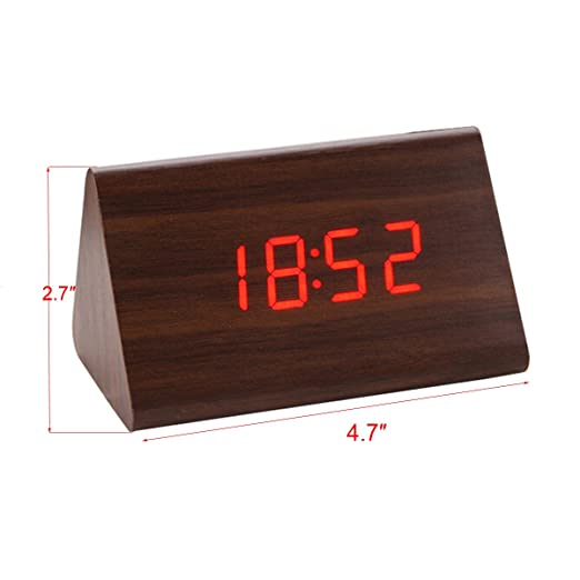 Amazon.com: bouti1583 Wooden Triangular Digital LED Alarm Clock Bedside Date Thermometer Display Home Office Desk Decoration Sound Control(No adapter or ...