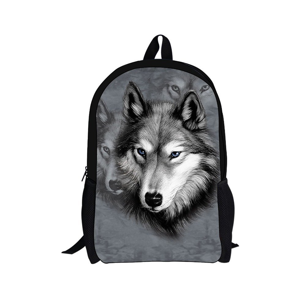 Bigcardesigns 17'' Grey Wolf Anaimal Zoo Backpack Schoolbags for Students Children Book Bag