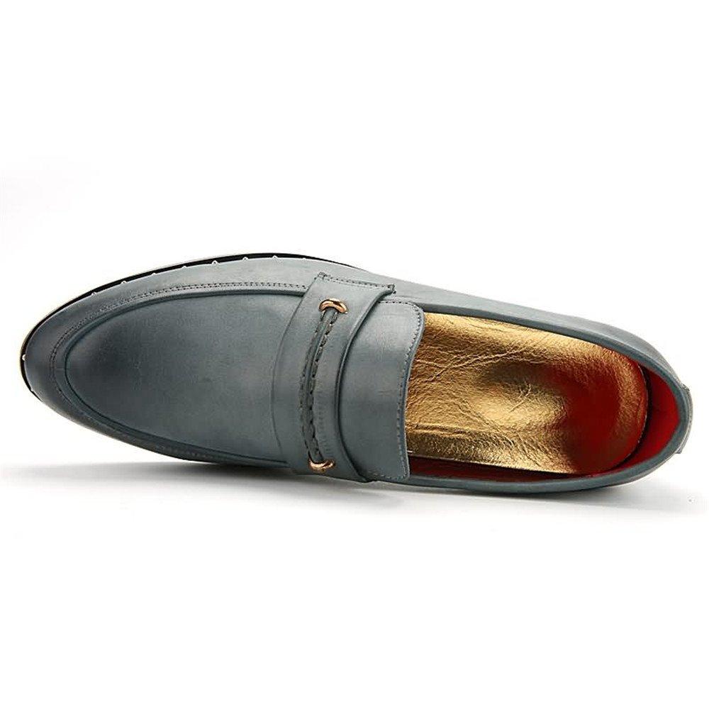 Für die neue neue neue Mode 2018, Herren Oxfords Spitzschuh Flache Ferse Soft PU Leder Slip auf Business Schuhe Blau 387e7e