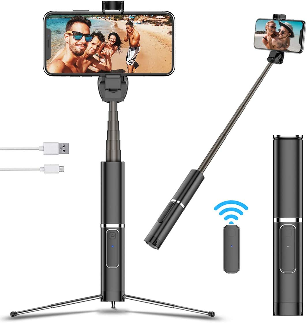 Selfie Stick Tripod with Bluetooth Remote, Portable Compact Design, Extendable All-in One Selfie Stick for iPhone 12 11 Pro XS MAX/X/XR/8, Samsung Galaxy S20/S10/10+/S9/S9+/S8 Plus, Android Phones