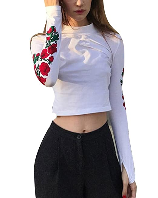 Kasen Mujer Sudaderas Cortas Moda Impresión Manga Larga Blusa Tops: Amazon. es: Ropa y accesorios