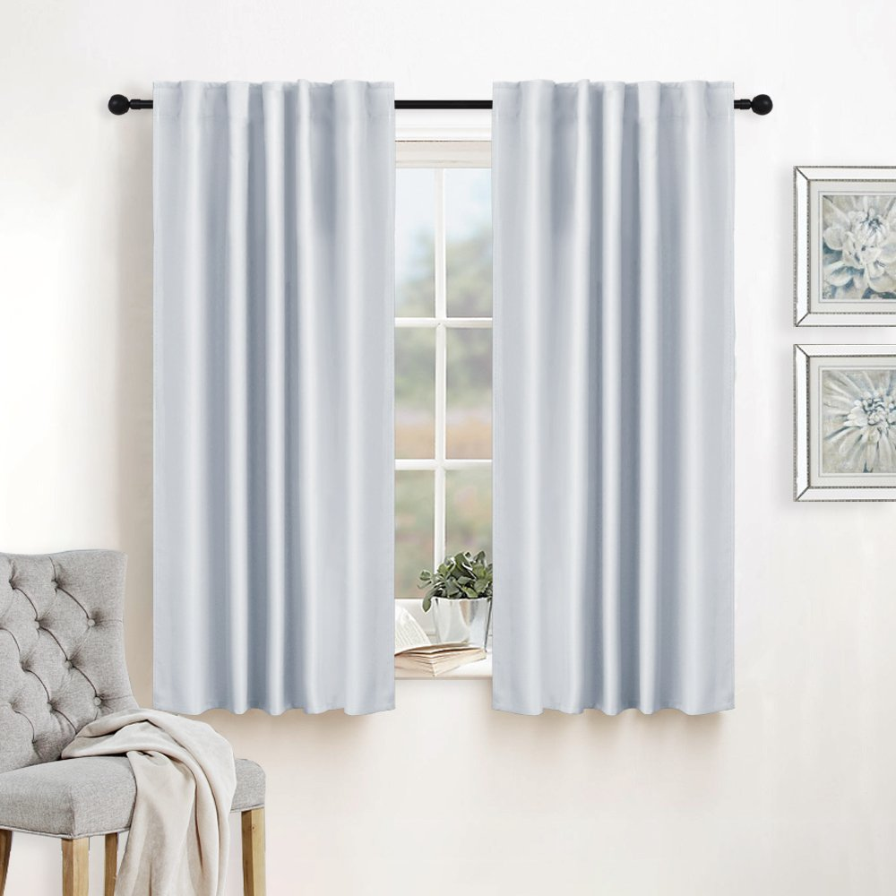 RYB HOME Curtains Drapes Thermal Insulated Panels (42'' x 45'', Grayish White, Double Pieces) Back Tab & Rod Pocket Used with Curtain Rod/Hooks Blackout Curtains for Living Room Window Dressing by RYB HOME (Image #3)