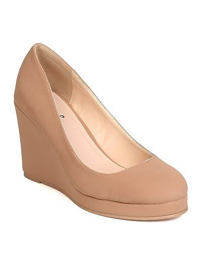 5670a355349 Qupid Women Nubuck Round Toe Platform Wedge Heel FH96 - Taupe