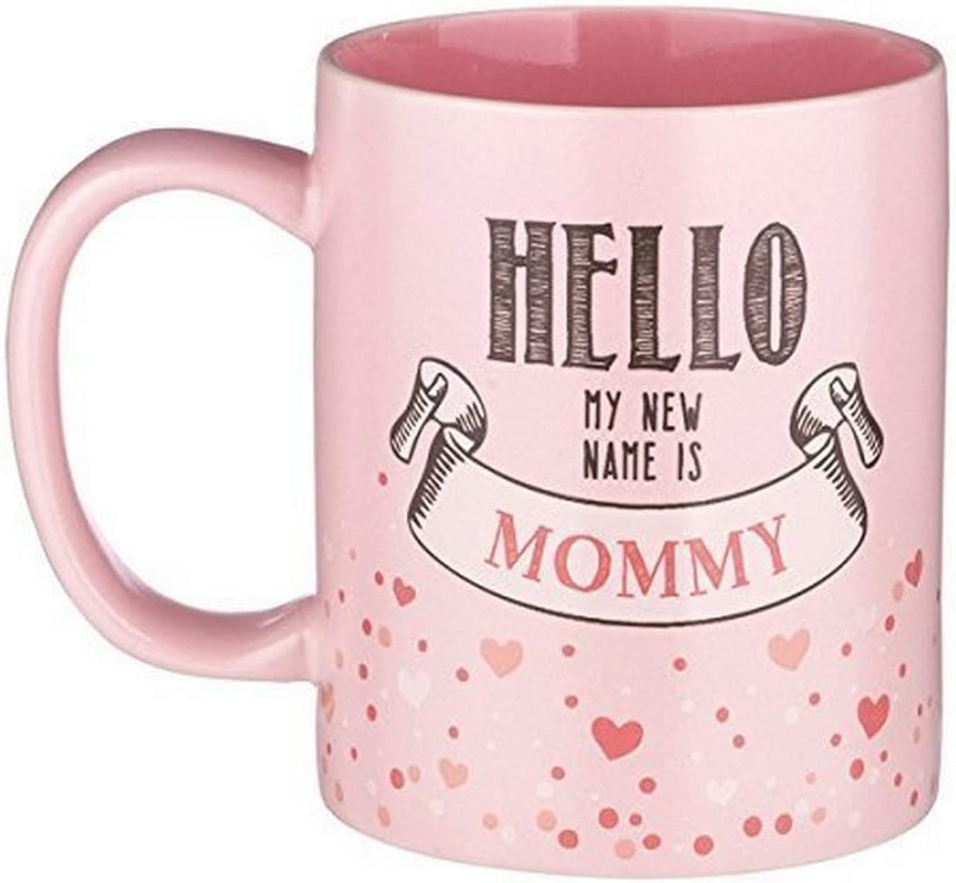 """Kelli's Shop 6"""" 12-Ounce Mother Mug-Hello My New Name is Mommy-Pink Ceramic with Gift Box, Multicolor"""