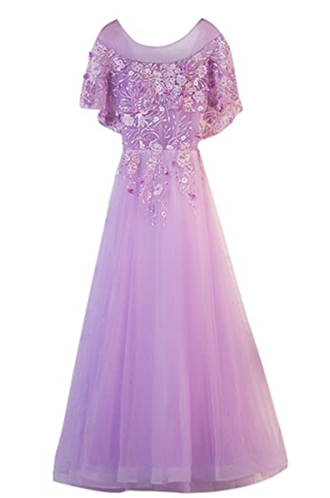 TOPJIN Womens Long Embroidery Pearls Tulle Wedding Bridesmaid Cocktail Party Dress Evening Gowns Light Purple UK4