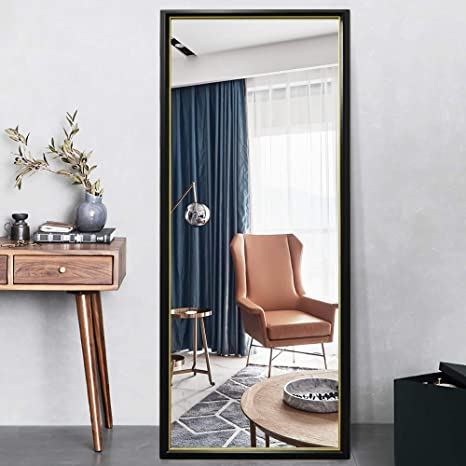 Pexfix 65 X22 Full Length Mirrors Floor Mirror Rectangle Color Blocking Geometric Framed Full Body Mirror Large Mirror Standing Mirror For Home Bedroom Decoration Black Frame With Gold Liner Home Kitchen