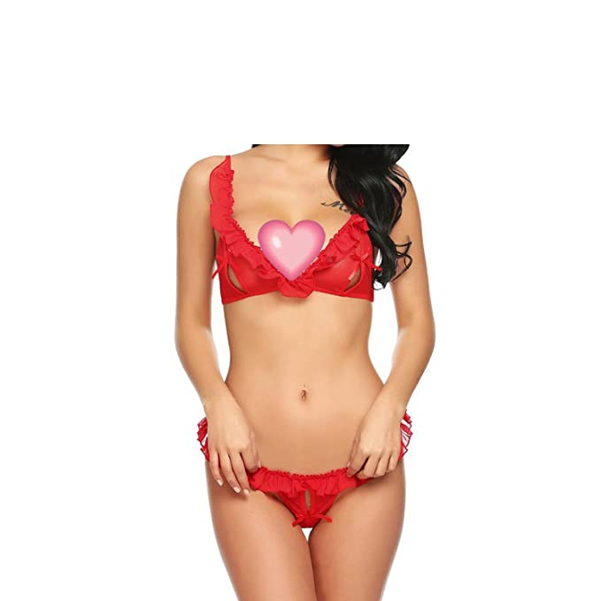 8fa18de3bf Image Unavailable. Image not available for. Color  Sexy Costumes Crotchless Lingerie  Set Sheer Mesh Ruffled Bra and Thong Panty Lenceria