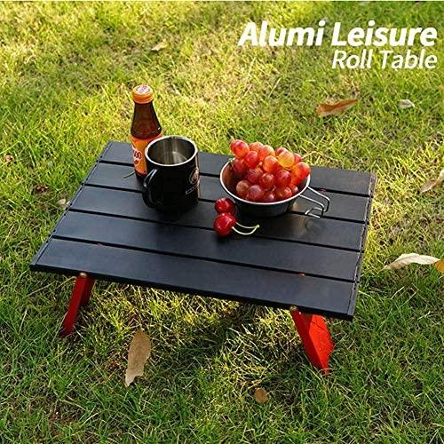 IUYJVR -Ultralight Camping Table-Mini Outdoor Folding Table-Portable Storage Picnic Table,Aluminum Alloy,for Vehicle Hiking Fishing,Black + Red