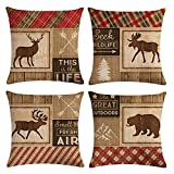 KACOPOL Vintage Background Wildlife Elk Moose Bear Deer Pine Tree Forest Throw Pillow Covers Cotton Linen Pillowcase Cushion Cover Home Office Decor Square 18'' X 18'' Set of 4 (Wild Animals & Quotes)