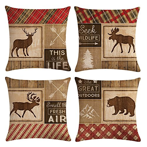 KACOPOL Vintage Background Wildlife Elk Moose Bear Deer Pine Tree Forest Throw Pillow Covers Cotton Linen Pillowcase Cushion Cover Home Office Decor Square 18'' X 18'' Set of 4 (Wild Animals & Quotes) by KACOPOL