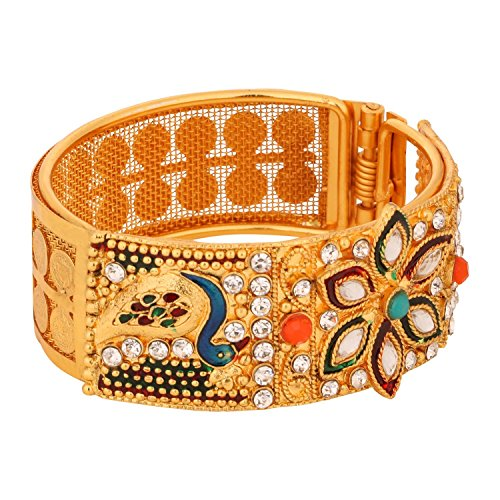 Efulgenz Indian Traditional Bollywood Handcrafted White Red Green Rhinestone Faux Ruby Emerald 18 K Gold Plated Hinged Cuff Bracelet Bangle Bridal Designer Jewelry for Women and Girls (Bangle Hinged Metal)